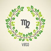 Zodiac sign Virgo in Earth element wreath