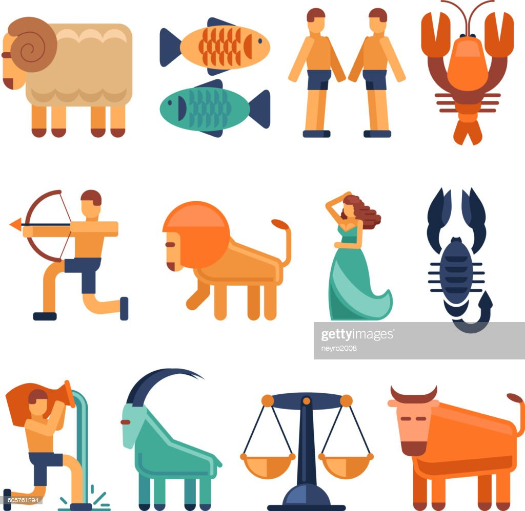 Zodiac Signs And Astrological Icons Or Horoscope Symbols Vector Art