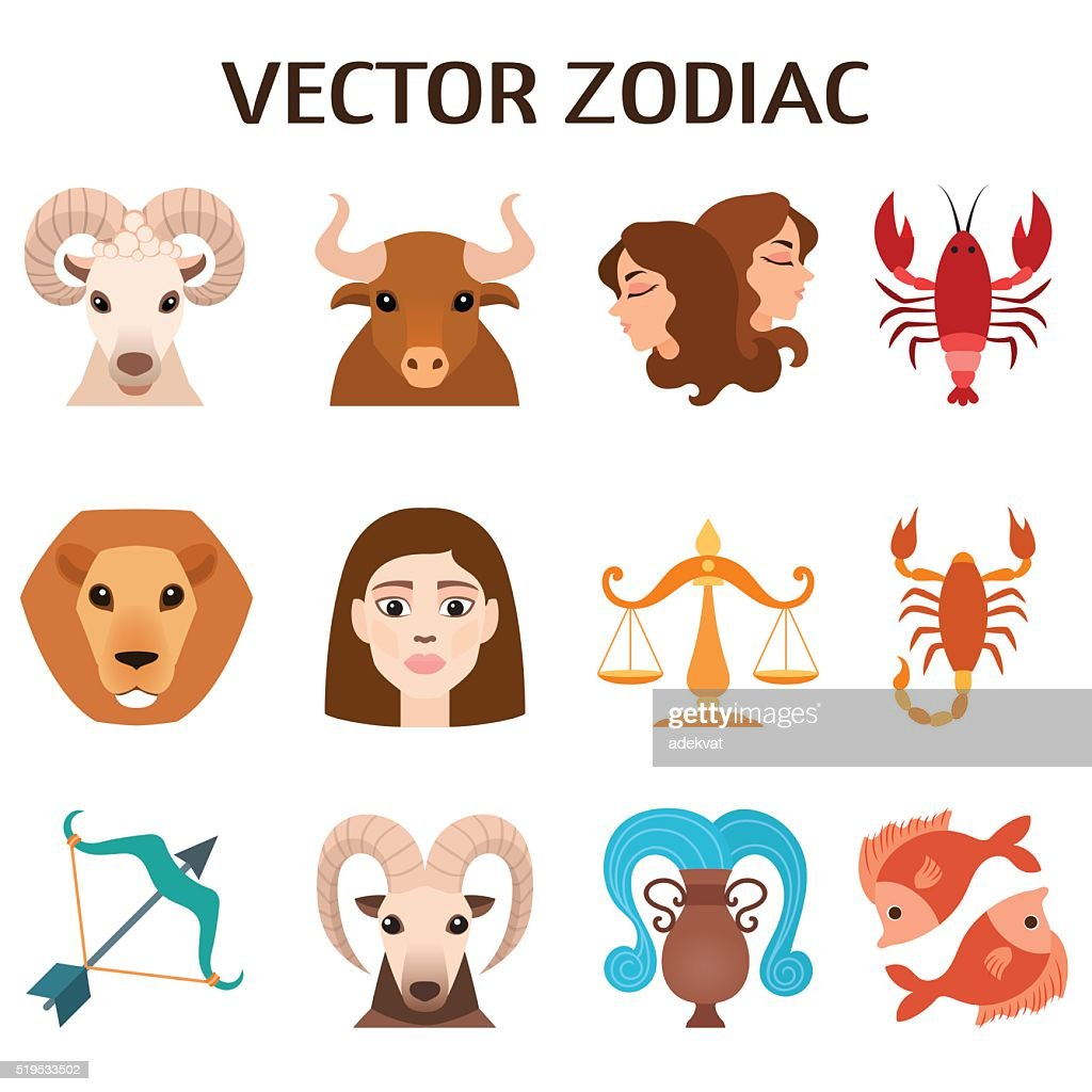 Zodiac signs colorful silhouettes horoscope astrology set vector illustration