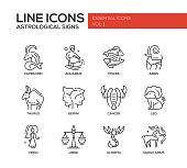 Zodiac signs icons set