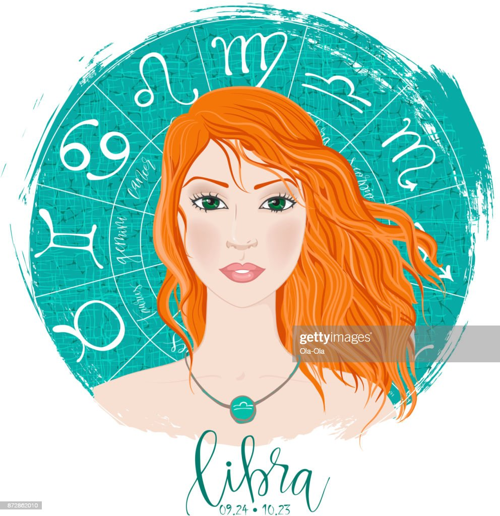 Zodiac signs Libra in image of beauty girl