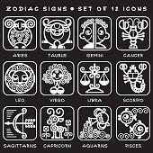 Zodiac Signs - Set Of Vector Icons. White Illustration Of Zodiac Symbols.