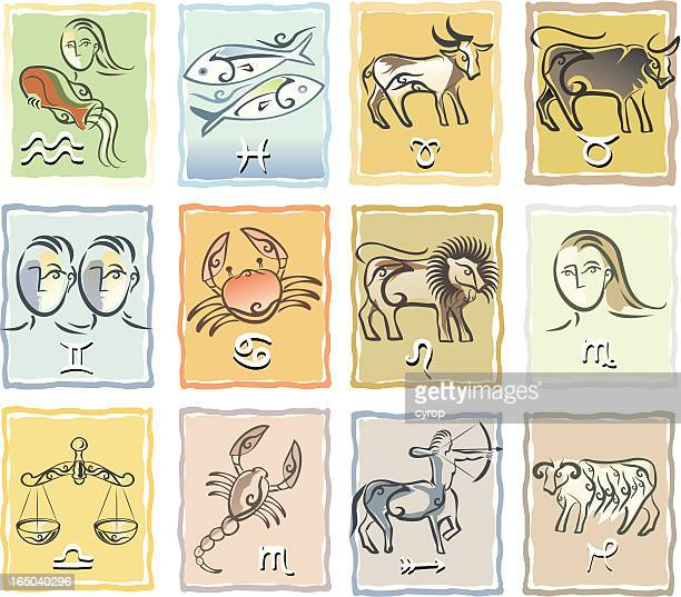 zodiac signs table - chinese zodiac sign stock illustrations, clip art, cartoons, & icons