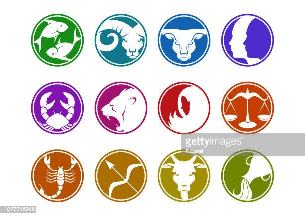 zodiac signs - group of objects stock illustrations