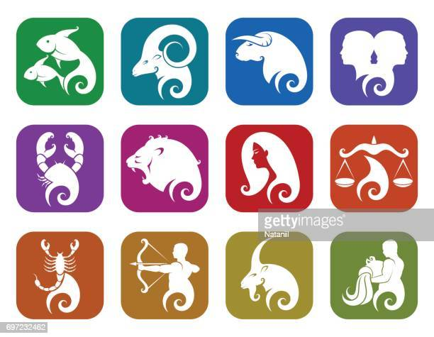 zodiac signs - fate stock illustrations