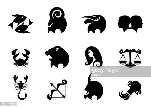 zodiac signs - astrology stock illustrations