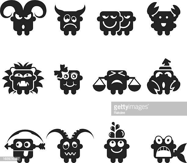 zodiac silhouette emoticons - cartoon cancer stock illustrations