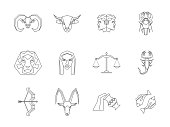 Zodiac Symbol Thin Line Design Style Icons Set. Vector