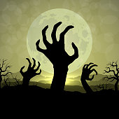 Zombi hands in Halloween night on the moon background