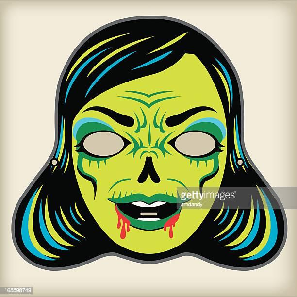 zombi lady - vintage mask series - zombie stock illustrations, clip art, cartoons, & icons