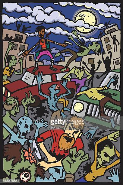zombie attack! - judgment day apocalypse stock illustrations, clip art, cartoons, & icons