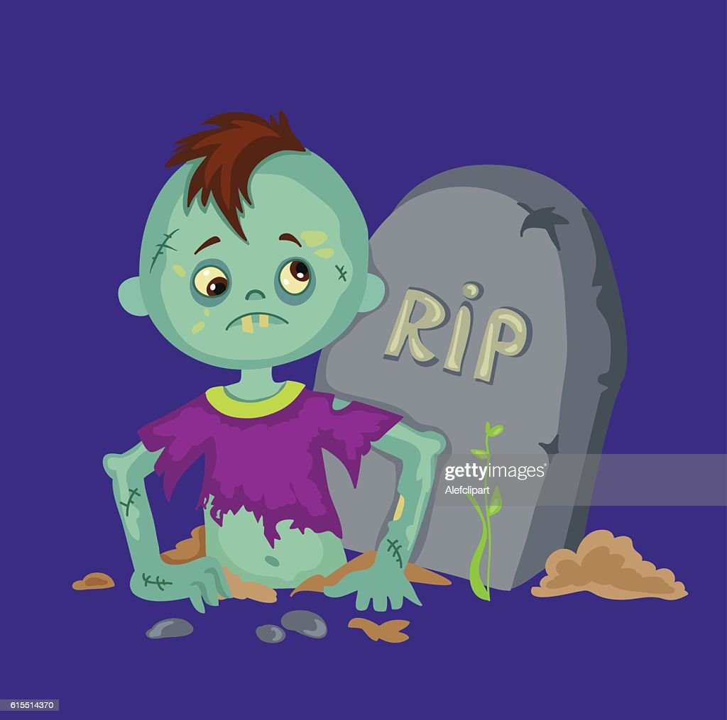 Zombie boy coming from a gravestone