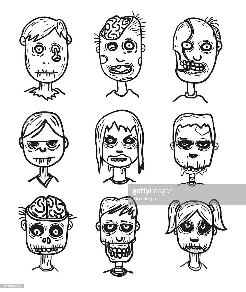 zombie cartoon character set, vector illustration.