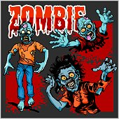 Zombie Comic Set - Cartoon zombie