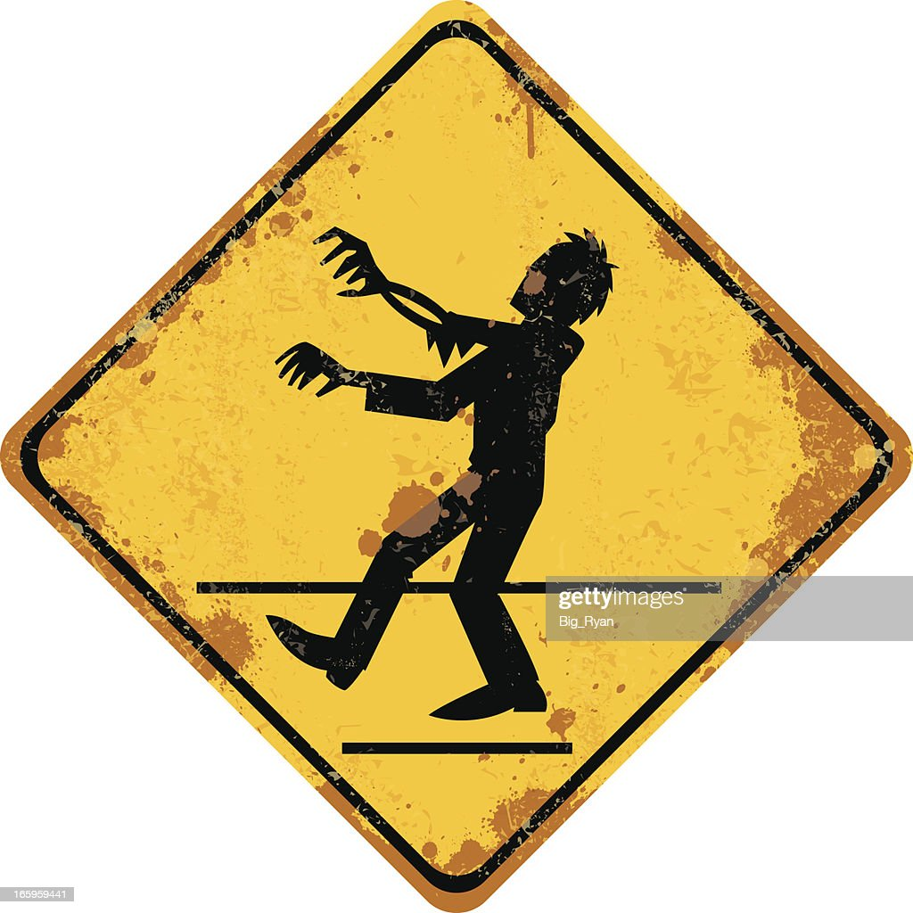 zombie crossing sign : stock illustration