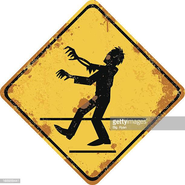 zombie crossing sign - zombie stock illustrations, clip art, cartoons, & icons