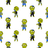 Zombie cute cartoon kid seamless pattern