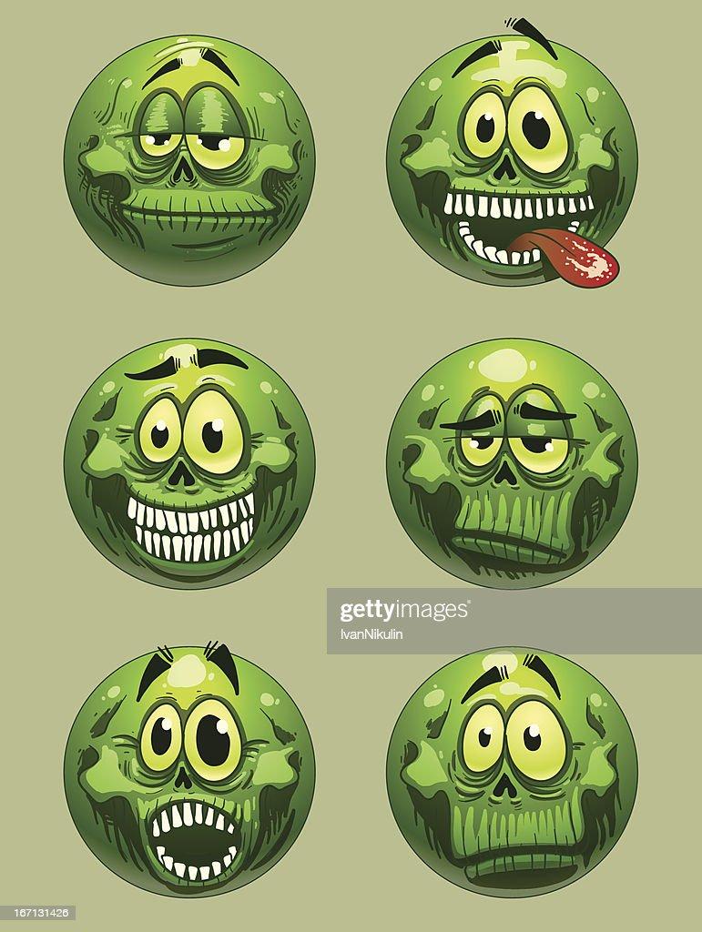 Zombie emoticon green color vector