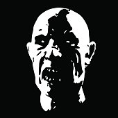 Zombie face horror picture black and white color. Vector illustration.
