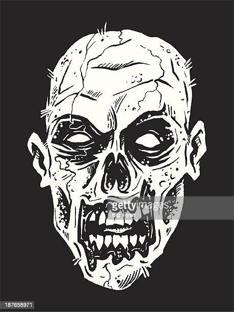 zombie face - zombie stock illustrations, clip art, cartoons, & icons