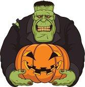 Zombie Frankenstein with pumpkin