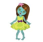 Zombie girl in a beautiful dress.
