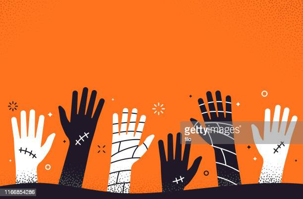 ilustraciones, imágenes clip art, dibujos animados e iconos de stock de zombie halloween hands background - halloween