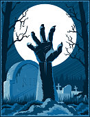 Zombie Hand Cemetery Halloween Vintage Background Horror Print Poster