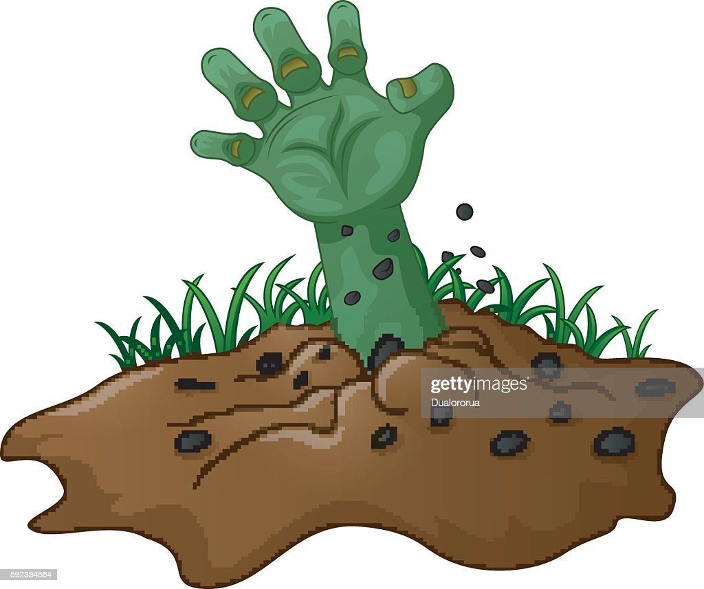 zombie hand coming out of the earth