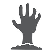 Zombie hand glyph icon, undead and halloween, arm sign, vector graphics, a solid pattern on a white background, eps 10.