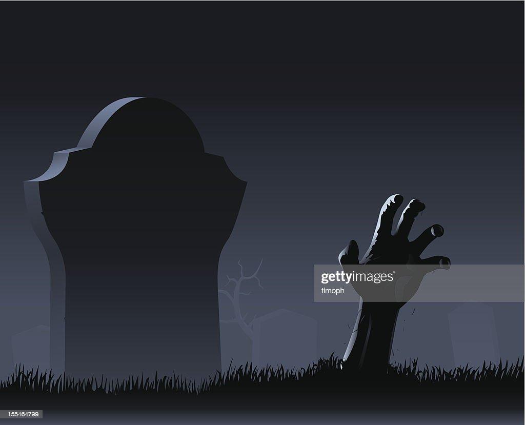 Zombie hand & gravestone : stock illustration