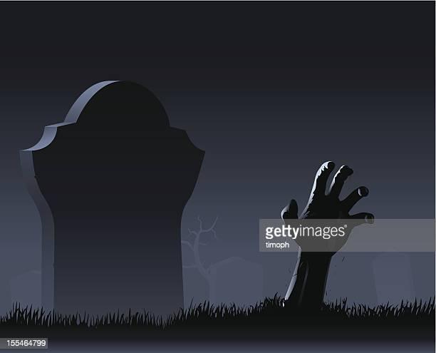 zombie hand & gravestone - zombie stock illustrations, clip art, cartoons, & icons