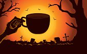 Zombie hand holding coffee cup at