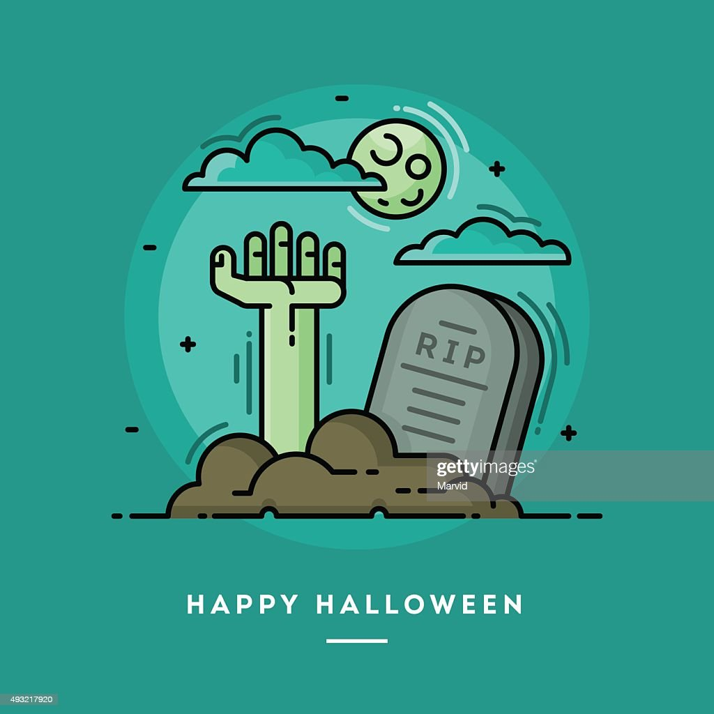 Zombie hand in cemetery, flat design thin line Halloween banner