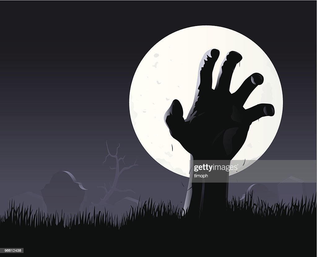 Zombie hand & moon : stock illustration