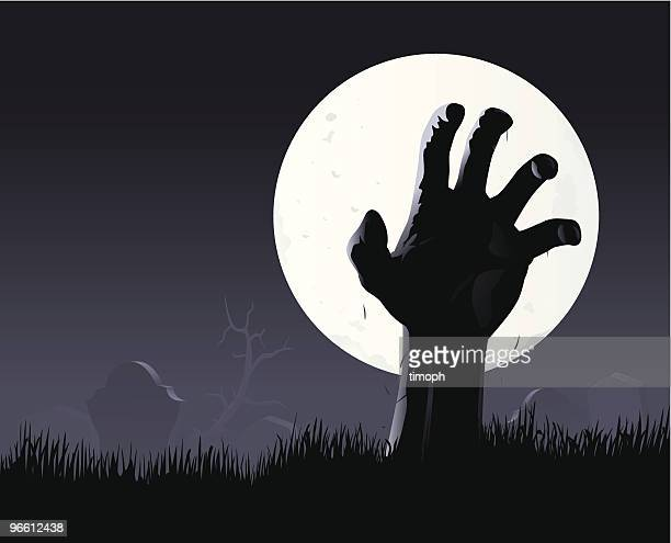 zombie hand & moon - zombie stock illustrations, clip art, cartoons, & icons