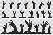 Zombie hands black silhouette. Vector Halloween icons set isolated on a transparent background.