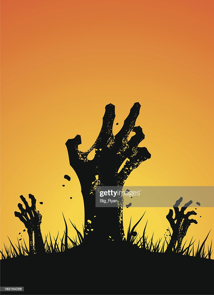 zombie hands rising : stock illustration
