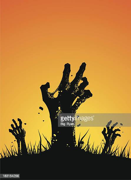 zombie hands rising - zombie stock illustrations, clip art, cartoons, & icons