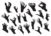 Zombie hands silhouettes set