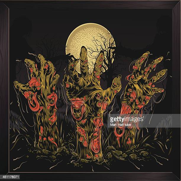 zombie hands - buried stock illustrations, clip art, cartoons, & icons