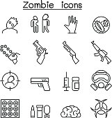 Zombie icon set in thin line style
