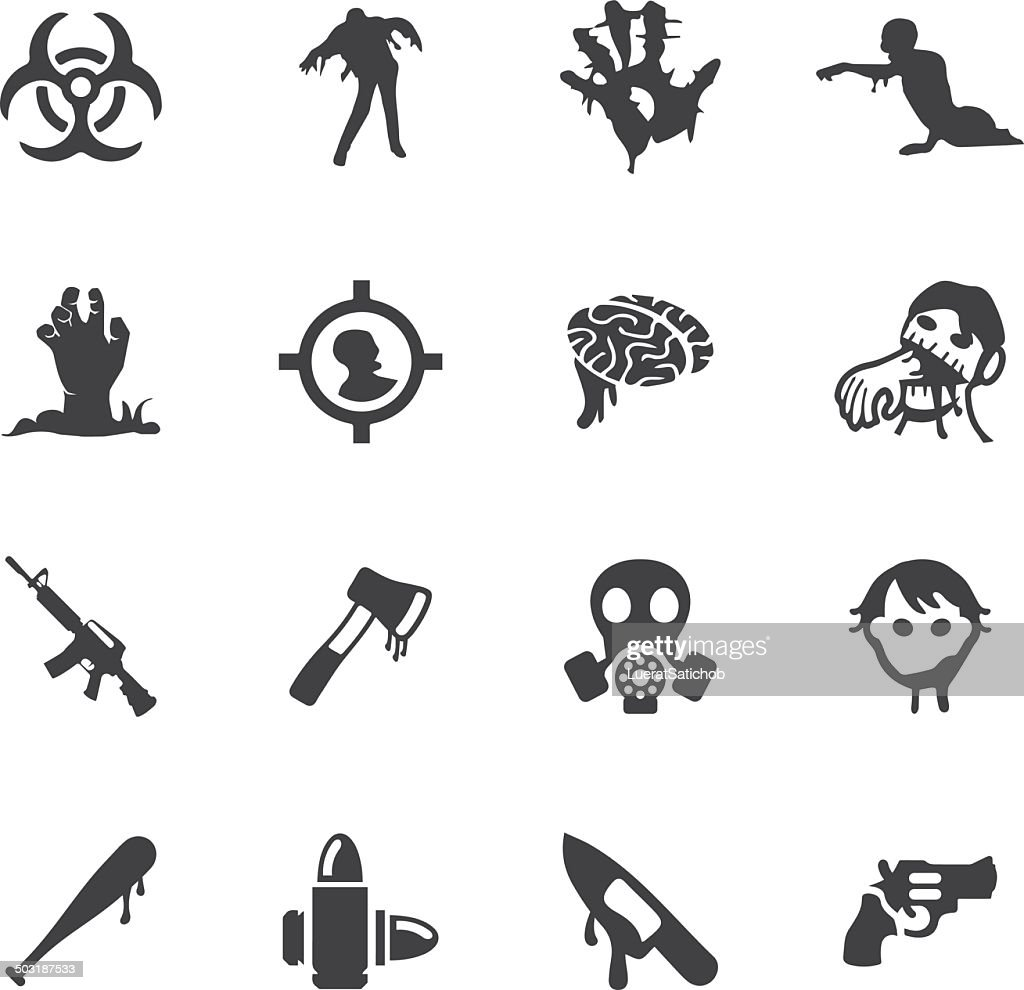 Zombie Land Silhouette icons | EPS10 : stock illustration