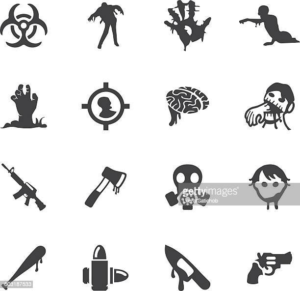 zombie land silhouette icons | eps10 - zombie stock illustrations, clip art, cartoons, & icons