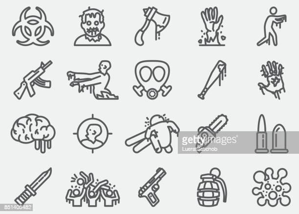 zombie line icons - zombie stock illustrations, clip art, cartoons, & icons