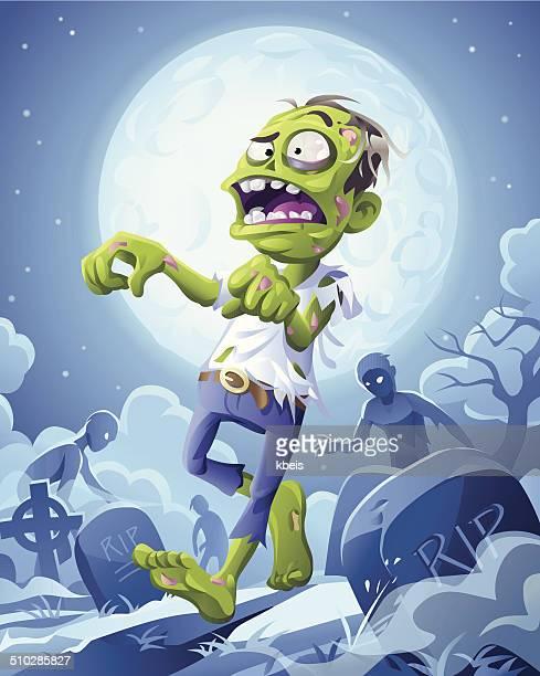 ilustraciones, imágenes clip art, dibujos animados e iconos de stock de zombie la noche - monstruo