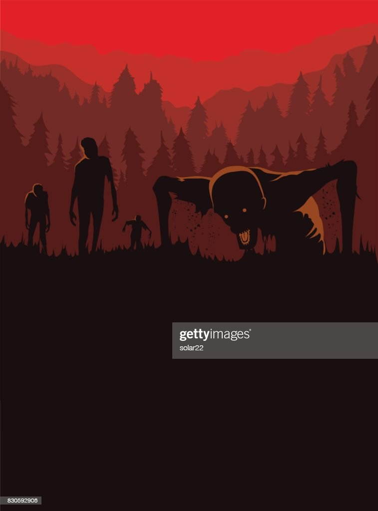 Zombie out of the grave on silhouette background in horror theme.