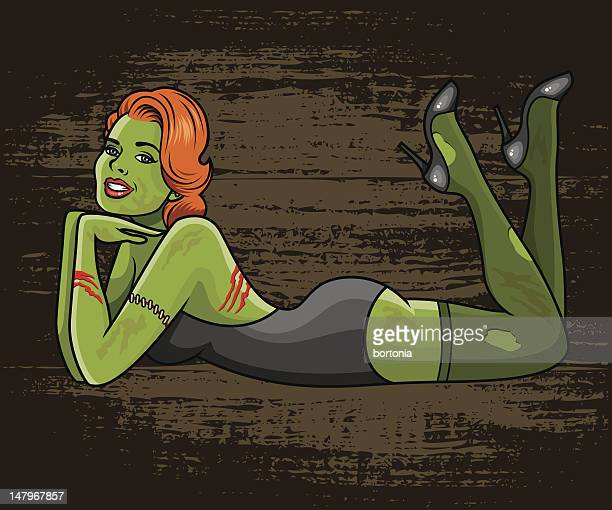 zombie pinup girl - lying on front stock illustrations, clip art, cartoons, & icons