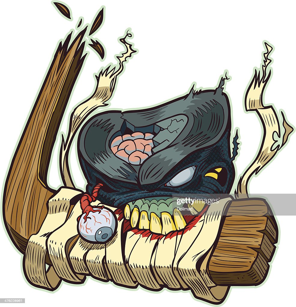 Zombie Puck Biting Hockey Stick Vector Cartoon
