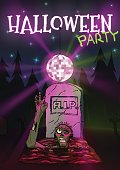 Zombie pulls hand to the Discoball. Invitation Happy Halloween party